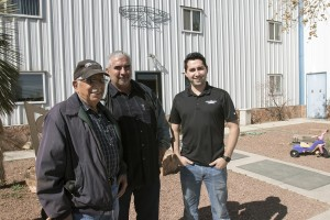Sisneros Brothers' founder Avenicio, left, CEO Martin, and grandson and sales manager Andres; photo by Jane Phillips